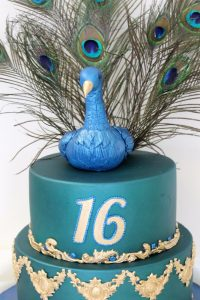 2 tier 16th birthday Peacock cake