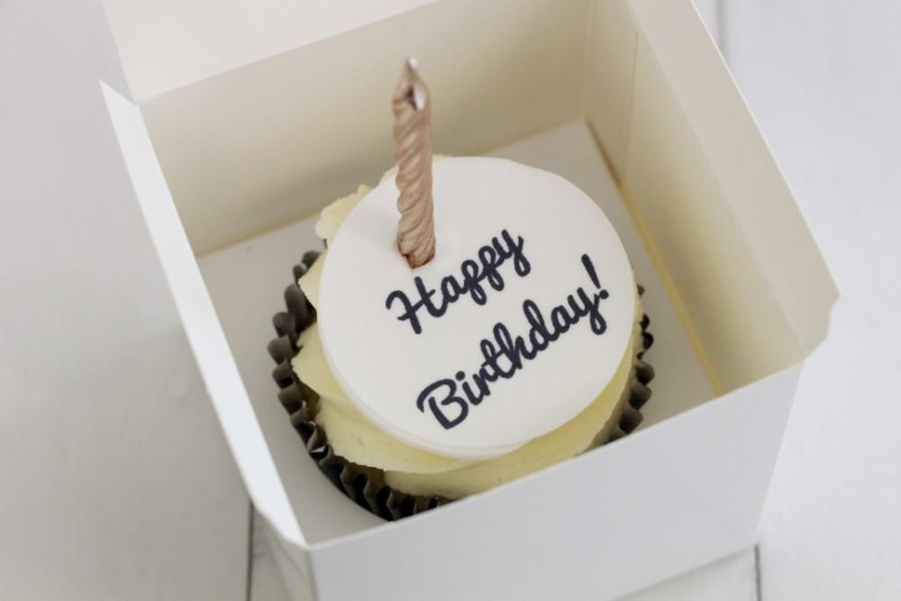 Black Happy Birthday Cupcake Topper