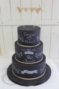 Chalkboard wedding cake with bunting
