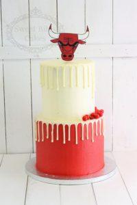 Red and white Bulls cake