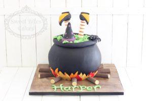 3D witches cauldron cake