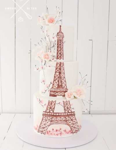 eiffel tower hand painted cake