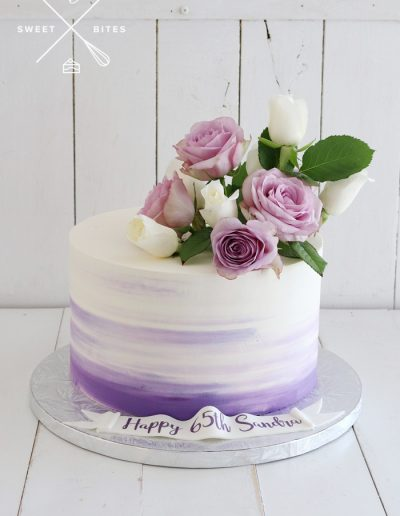 pink ombre cake fresh roses