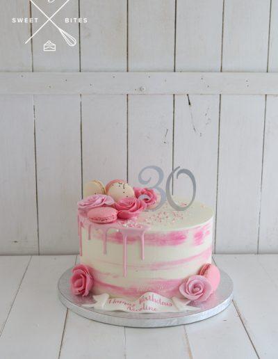 pink watercolour cake drip sugar roses
