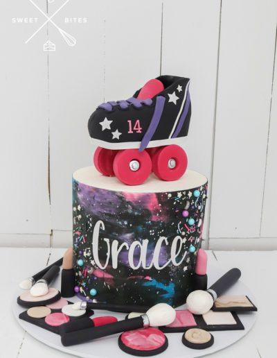 galaxy roller derby skating makeup cake