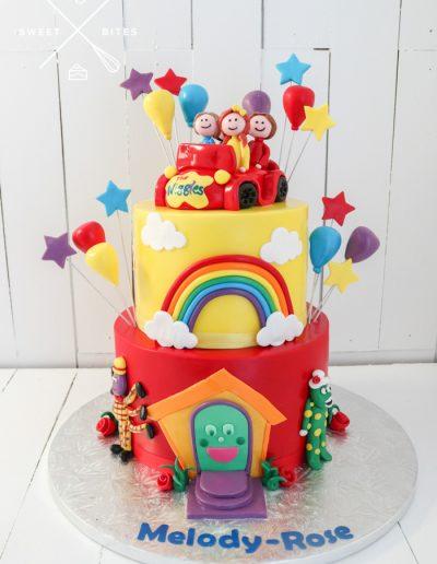 wiggles big red car cake 2 tier rainbow