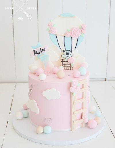 1st birthday pink teddy bear hot air balloon ladder cake