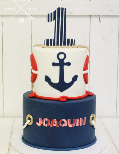 1st birthday sailor sail anchor cake