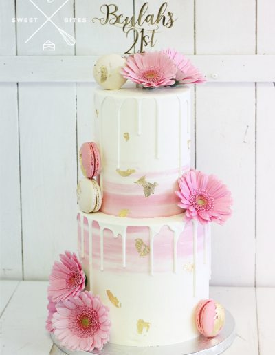 pink white gold ombre 21st birthday cake