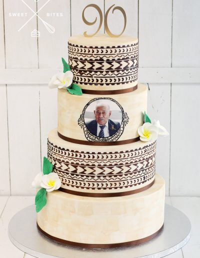 tapa stencil 90th birthday island cake 4 tier