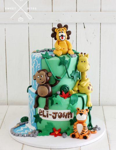 jungle rainforest animals lion giraffe tiger monkey cake