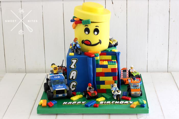 lego world movie head bricks cake