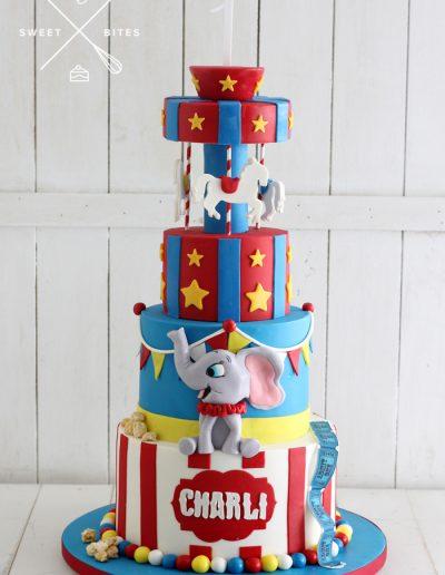 merry go round circus tent cake carnival 1st birthday