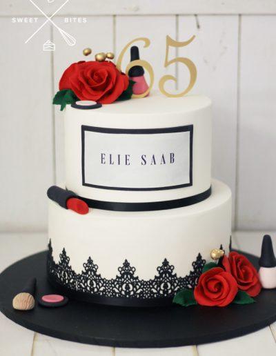 make up lipstick roses 65th birthday cake