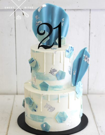 blue white watercolour chocolate 21st birthday cake