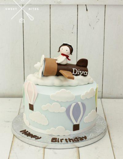 baby airplane hot air balloon pilot cake