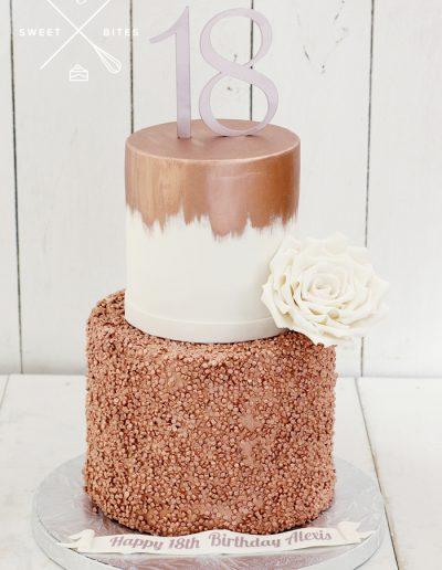 rose gold sequin 18th birthday cake