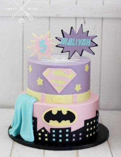pink purple superman batman DC cake 5th birthday