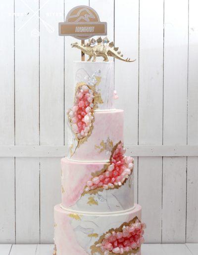 4 tier gold dinosaur pink geode marble cake