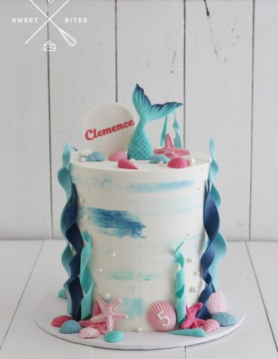 5th birthday mermaid simple underwater cake