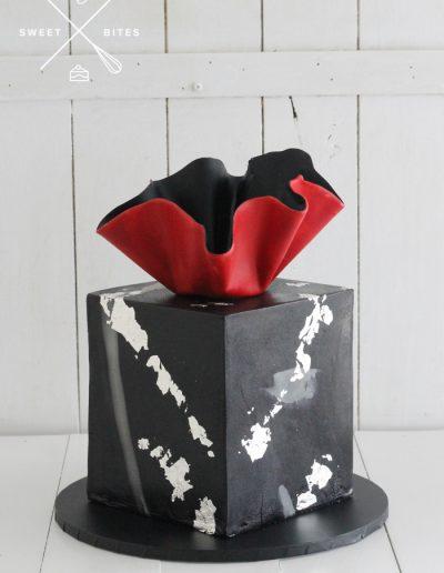 black red silver cube square cake