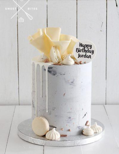 concrete industrial drip chocolate bowl cake