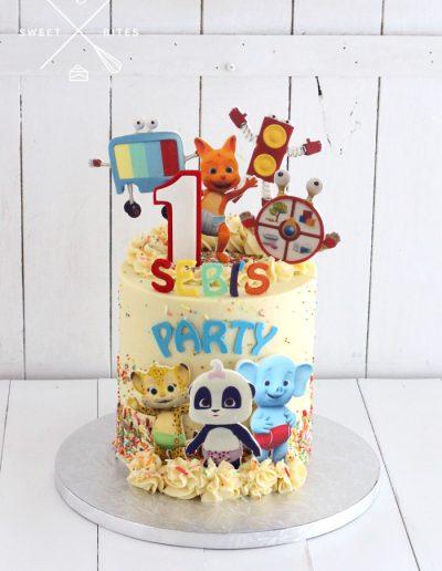 1st birthday word party cartoon confetti cake