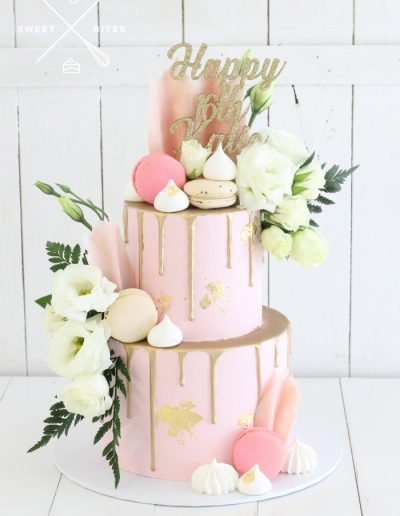 pink gold drip 16th birthday cake