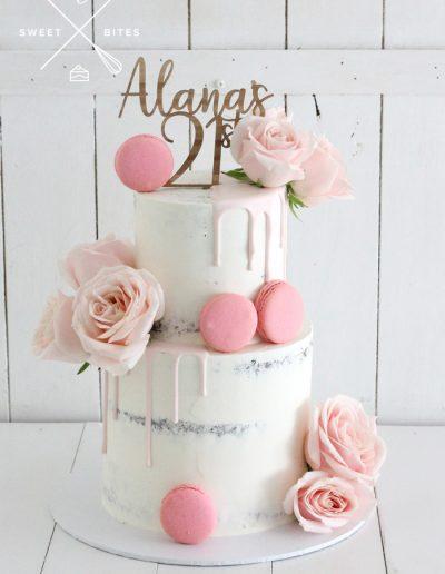 semi naked pink drip 21st birthday cake