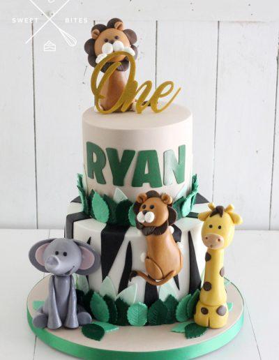 1st birthday wild one animal jungle cake
