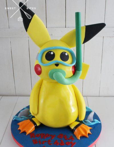 3d swimming pikachu cake