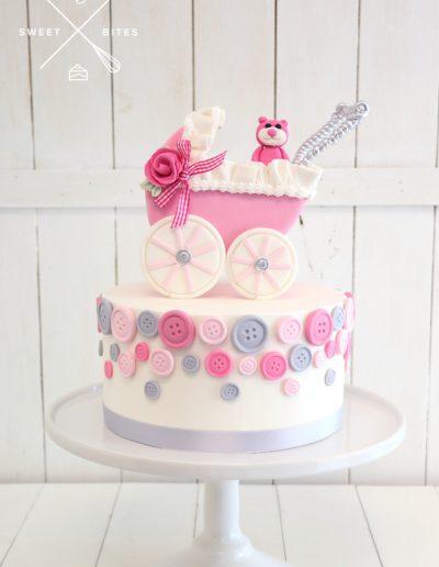 baby shower cake girl pink teddy bear pram buttons