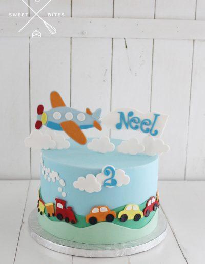 plane transport train car cake