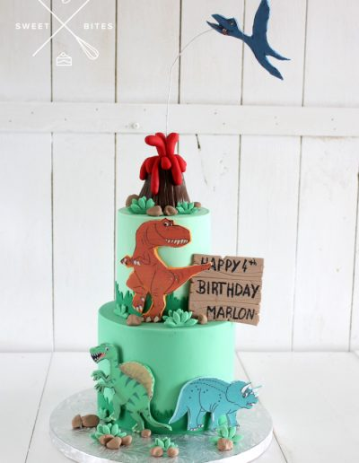 volcano dinosaur cake 2 tier