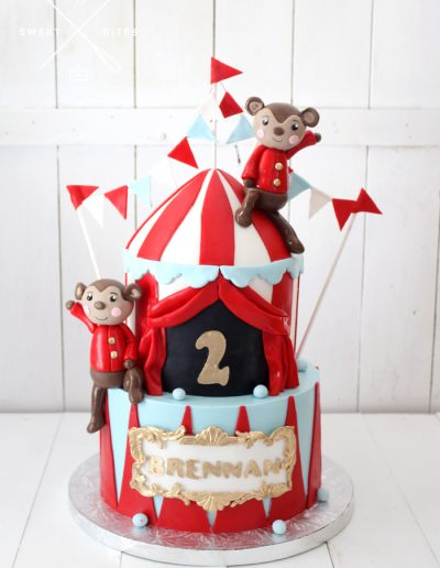 circus carnival 2nd birthday cake tent