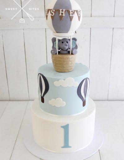 baby elephant hot air balloon 1st birthday cake boy