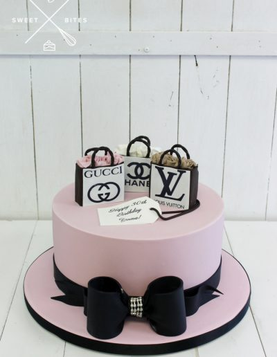 luxury designer shopping bow cake LV gucci chanel