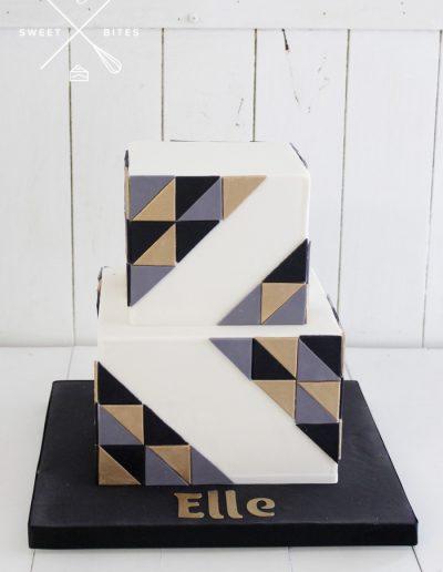 geometric asymetric square cake