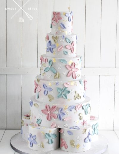 12 tier pallet knife flowers texture cake