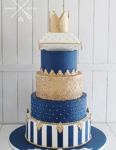 crown pillow cushion navy gold sequin regal royal 1st birthday 5 tier cake