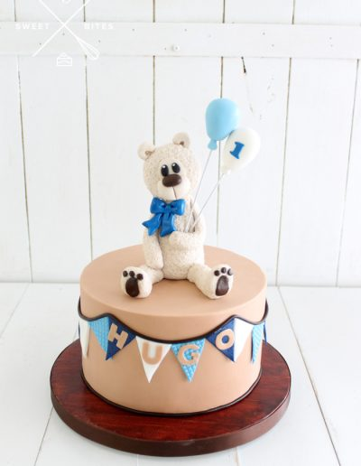 teddy bear balloons cute boy 1st birthday cake