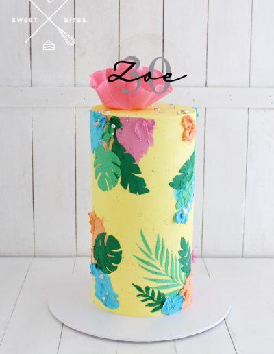 leaf stencil bright 30th birthday cake