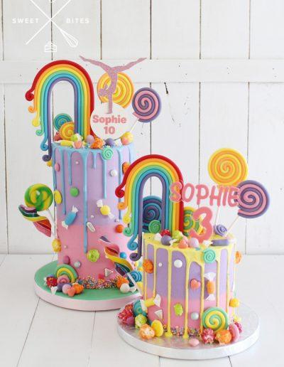 rainbow candy lolly overlaod cake pastel