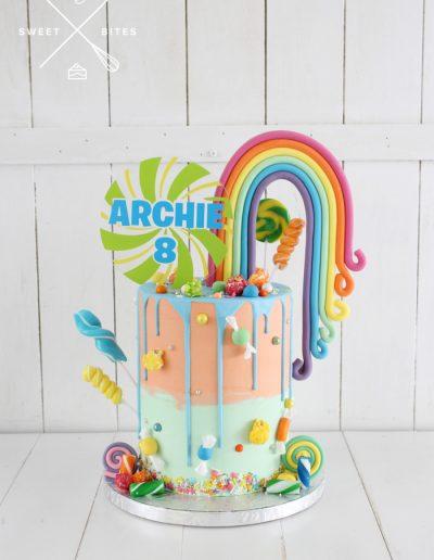 candy rainbow overload sprinkles fondant cake