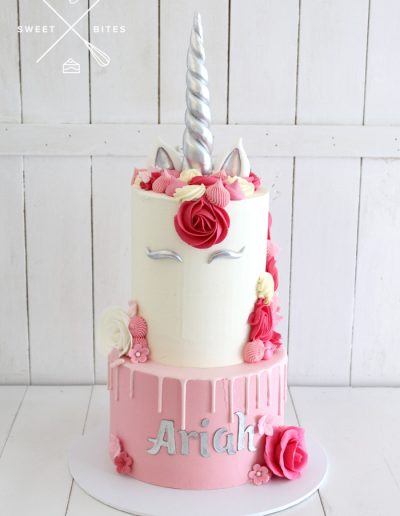 pink silver unicorn cake 2 tier