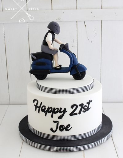 21st birthday scooter moped cake