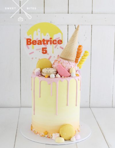 upside down icecream pastel drip cake
