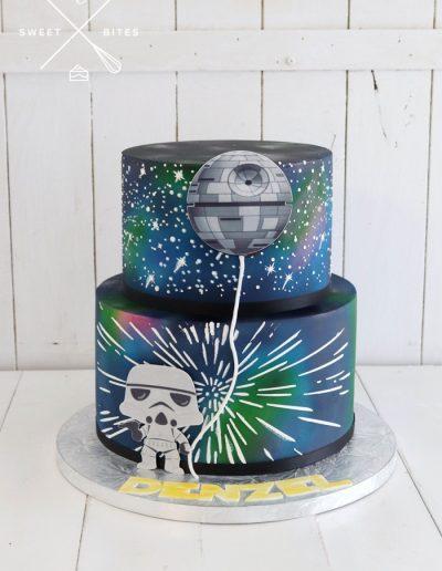 galaxy death star star wars cake stormtrooper