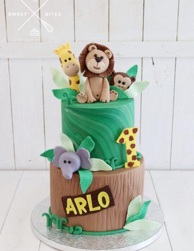 1st birthday cake jungle animals