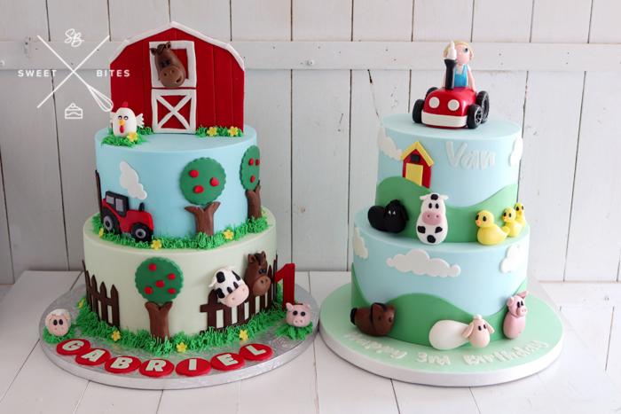 farm barn yard cake tractor animals